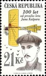 #3503 Czech Republic - First Public Long-Distance Flight of Jan Kasper, Cent. (MNH)