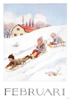 Månadsbild med klassiskt Elsa Beskow motiv Februari Christmas Sheets, Christmas Past, Vintage Cards, Vintage Images, Elsa Beskow, Winter's Tale, Retro Illustration, Paintings I Love, Cute Art