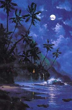 Mystical Night by James Coleman Fantasy Landscape, Fantasy Art, Tiki Art, Underwater Art, Hawaiian Art, Fantasy Places, Tropical Art, Beautiful Moon, Nocturne