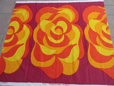 Vintage 1967 Marimekko Finland Maija Isola Mustasukkainen Fabric Panel Yardage