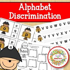 Alphabet Discrimination Activities - Pirate Theme from Sweetie's Literacy Skills, Early Literacy, Literacy Centers, Teaching Toddlers Abc, Teaching Ideas, Kindergarten Blogs, School Reviews, Learn To Spell, Teacher Organization
