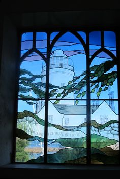 Lighthouse stained glass window on St Agnes Isles of Scilly
