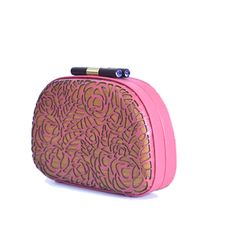 Flower burst (pink) clutch - #rachanareddy #bag #clutch #woodenclutch #wood #fashion #art #design #designer #elegant   Shop here: www.rachanareddy.com