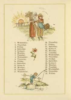 August - Kate Greenaway's Almanack for 1883