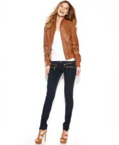 $376, Michl Michl Kors Zip Front Leather Bomber Jacket by Michael Kors. Sold by Macy's. Click for more info: http://lookastic.com/women/shop_items/85952/redirect