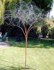 Tree made out of copper tubes and water running thru...