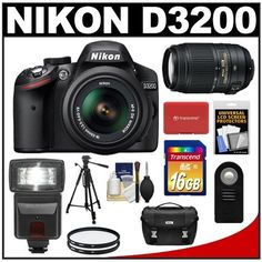 Nikon D3200 Digital SLR Camera & 18-55mm G VR DX AF-S Zoom Lens (Black) + 55-300mm VR Lens + 16GB Card + Flash + Case + Filters + Remote + Tripod + Accessory Kit by Nikon. $899.95. Kit includes:♦ 1) Nikon D3200 Digital SLR Camera & 18-55mm VR Zoom Lens (Black)♦ 2) Nikon 55-300mm VR Zoom Lens♦ 3) Transcend 16GB SecureDigital Class 10 (SDHC) Card♦ 4) Nikon Deluxe Digital SLR Camera Case♦ 5) Vivitar ML-L3 Wireless Shutter Release Remote Control♦ 6) PD DSLR300 High Power...