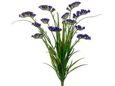 Looking for purple wedding flowers? Check out this beautiful, artificial statice flower bush in purple with accent greenery. Perfect for adding color and texture to bouquets and centerpieces, these pu