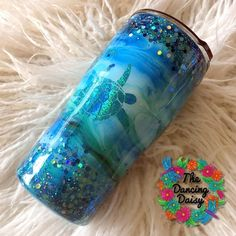 Glitter Cups, Blue Glitter, Glitter Tumblers, Simple Birthday Decorations, Dancing Daisy, Color Schemes Colour Palettes, Insulated Cups, Ocean Colors, Tumblers With Lids