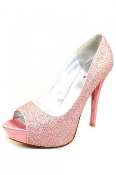 Light Pink Glitter Closed Toe Platform Pump Heels @ Amiclubwear ...