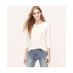 LOFT Seamed Collar Tee ($20) ❤ liked on Polyvore featuring tops, t-shirts, whisper white, long sleeve tee, collared t shirt, white scoop neck tee, white t shirts and long sleeve tops