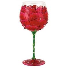 Super Bling Red Rose Lolita Wine Glass. forget the bouquet, get her a wine glass instead!
