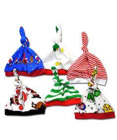 4 Christmas Knot Hats- Assorted Prints