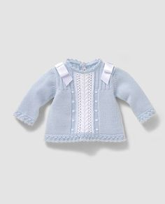 Blue Baby Jacket / Knitting InThis Pin was discovered by Pit Cardigan Bebe, Knitted Baby Cardigan, Knit Baby Sweaters, Knitting For Kids, Crochet For Kids, Baby Knitting, Crochet Onesie, Crochet Baby, Onesie Dress