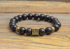 8mm Black onyx beaded stretchy bracelet with bronze by GAALco