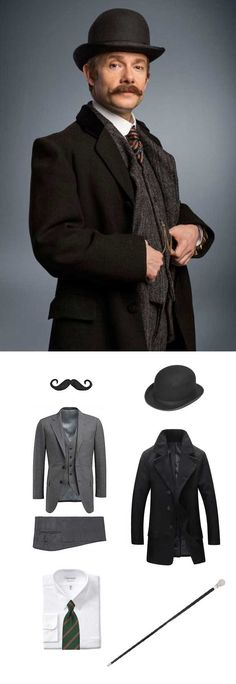 Easy Halloween Costume Guide for Dr. Watson from Sherlock Holmes.