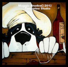 fat chef whimsical dog  art wine love kitchen by tangerinestudio, $75.00