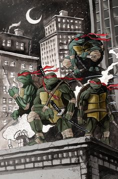 tmnt- back to the beginning- all wearing red.