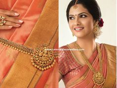 The temple jewellery gold Lakshmi haaram cum vaddanam looks spectacular with the red and green kundan stones studded Vaddanam Designs, Indian Jewellery Design, Jewellery Designs, Jewelry Patterns, Necklace Designs, Latest Jewellery, Waist Jewelry, Gold Jewelry Simple, Indian Wedding Jewelry