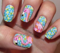 Nails Inspired by Lilly Pulitzer Peel & Eat Print by Leslie of Polish Art Addicition Fancy Nails, Cute Nails, Pretty Nails, Flamingo Nails, Pink Flamingos, Flamingo Print, Hair And Nails, My Nails, Lilly Pulitzer