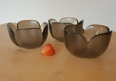 Rosenthal studio-linie, smokey glass dessert bowls (3) by Bjørn Wiinblad, Form without a name, 70s retro glass