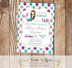 Purple Lavender Teal and Turquoise Brown Mermaid Polka Dots Birthday invitation - under the sea birthday party invitation - any age by NotableAffairs
