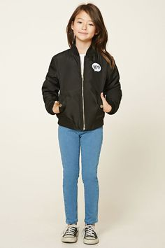 """Forever 21 GirlsA bomber jacket featuring a zippered front, ribbed trim, a """"Hey!"""" patch on the front, and a metallic """" New Attitude"""" print on back."""