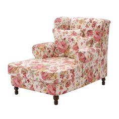 Oorfauteuil Cornwall - stoffen bekleding roze bloemen