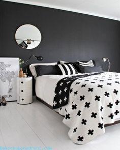 nice Siyah Beyaz Yatak Odası Dekorasyonu 2016