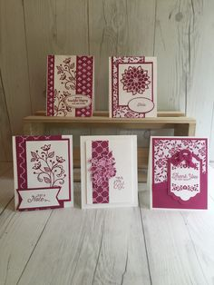 A collection of Stampin' Up! handmade cards using Fresh Florals Designer Series Papers