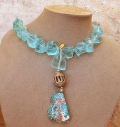 AQUA QUARTZ NECKLACE ROUGH TURQUOISE African Brass Bead Jasper Pendant Jewelry