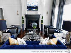 15 Sophisticated Formal Living Room Designs | Home Design Lover Black And White Living Room, Living Room Grey, Formal Living Rooms, Living Room Decor, Black White, Living Area, White Zebra, City Living, White Rug