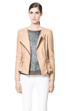 Zara // LEATHER JACKET WITH RUFFLE DETAIL  Ref. 7226/026  $249.00 USD