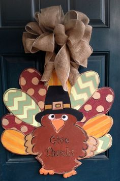Super cute hand cut and hand painted turkey door hanger! Fall Door Hangers, Burlap Door Hangers, Thanksgiving Signs, Thanksgiving Decorations, Fall Crafts, Crafts To Make, Diy Crafts, Wooden Cutouts, Paint Your Own Pottery