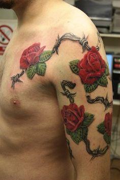 roses and barbwire by Mirek vel Stotker, London, UK | rose tattoos for men