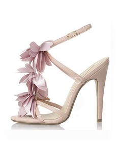 Pink Stiletto Heel Open Toe Ankle Strap PU Imitated Silk Flower Womens Fashion Sandals - Milanoo.com