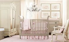 Classy Baby Room Designs Boasting Classic Interior Details : Beige And Pink Baby Rooms For Girls With Rocking Chair Near Cradles Under Chandelier