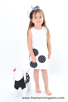 #puppy #dog #clothes #blackandwhite #summer #dress #www.thematchingdots.com #dots #polkadots