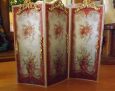 Miniature Reversible AMBER Dressing or Modesty screen Room divider in 12th scale