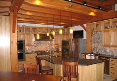 Kitchen in a timber frame home