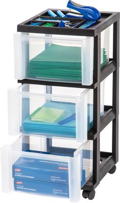 replace fabric drawers. SHOP IRIS USA - 3-Drawer Cart with Organizer Top