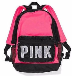 Victoria's Secret Pink Campus HOT PINK Black Sequin Sparkle Backpack Large CUTE