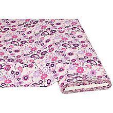 Baumwollstoff 'Blüten Paisley lila/pink'