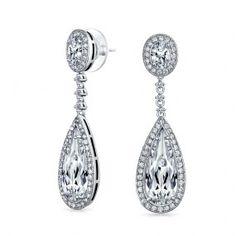Bling Jewelry Pave Cubic Zirconia Teardrop Chandelier Earrings