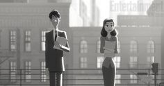 Stills and concept art from Disney's upcoming animated short Paperman