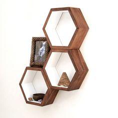 Honeycomb Cubby Shelves - Wall Shelving - Geometric Hexagon Shelves - Modern Eco Friendly Home Decor - Set of 3 Custom Medium Shelves