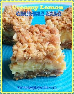 Creamy Lemon Crumble Bars... perfect for dessert (or really anytime of day!!) http://www.bakeplaysmile.com/creamy-lemon-crumble-bars/