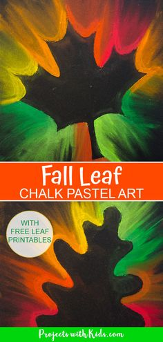 Kids will love making this fall leaf chalk pastel art using all of the gorgeous autumn colors! Use an easy pastel technique that is perfect for kids of all ages. Free printable leaf templates. Chalk Pastel Art, Chalk Pastels, Chalk Art, Fall Arts And Crafts, Fall Crafts For Kids, Autumn Art Ideas For Kids, Art For Kids, Autumn Activities, Art Activities