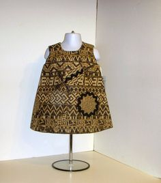 Toddler Dress  Tribal Block Print  Brown Black by KarenHeenan