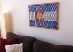 State of Colorado Beer Bottle Cap Flag by TheArtofDrinkingBeer (my new favorite seller on etsy) Beer Bottle Caps, Bottle Cap Art, Beer Caps, Bottle Cap Crafts, Beer Bottles, Glue Crafts, Diy Crafts, Clear Casting Resin, Beer Decorations
